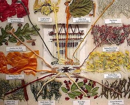 ... natural dyes made from the bark, leaves, or stems of various plants