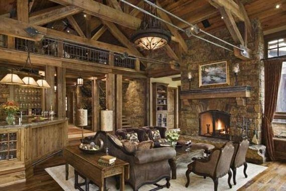 Gorgeous Elegance Rustic Living Rooms Decorating Ideas with Fireplace: Rustic House, Living Rooms, House Design, Dreams House, Interiors Design, Natural Wood, Logs Cabin, Westerns Style, Rustic Home