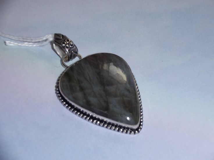 925 Sterling Silver Natural Labradorite Necklace Pendant by HealingAuras on Etsy