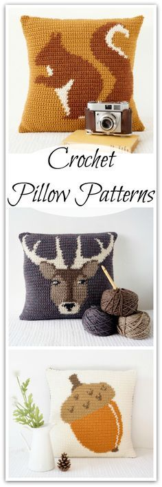 Crochet Pillow Patterns, Crochet Cushion Cover, Autumn Decor, Crochet Fall Decor, Country Style & Modern Vintage Crochet Patterns, Instant Download #ad #affiliate