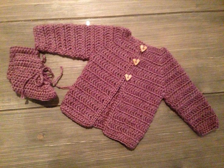 Heklet babyjakke og sokker 1-2 mnd / Crochet baby jacket and socks 1-2 months #hekle #crochet