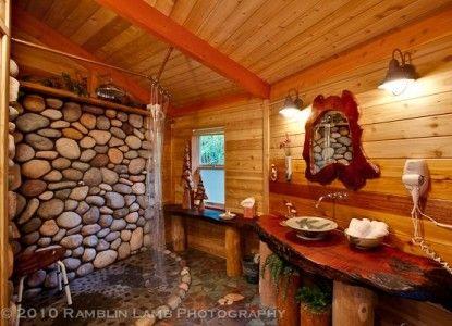 River Rock Shower Images I Love Pinterest River Rock Shower Rock Shower And Cabin