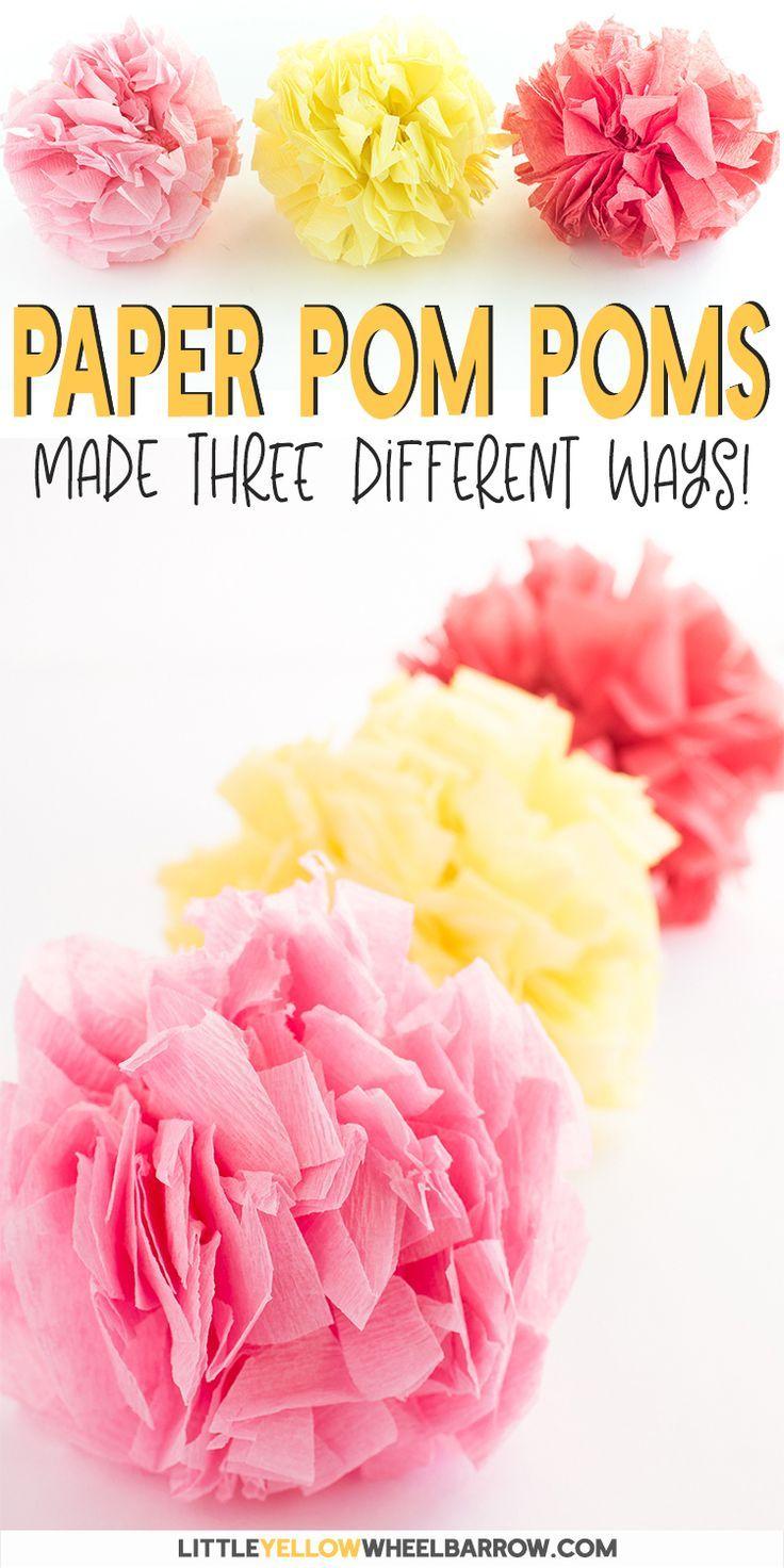 How To Make Tissue Paper Pom Poms 3 Different Ways Tissue Paper Pom Poms Diy Paper Pom Poms Tissue Paper Pom Poms