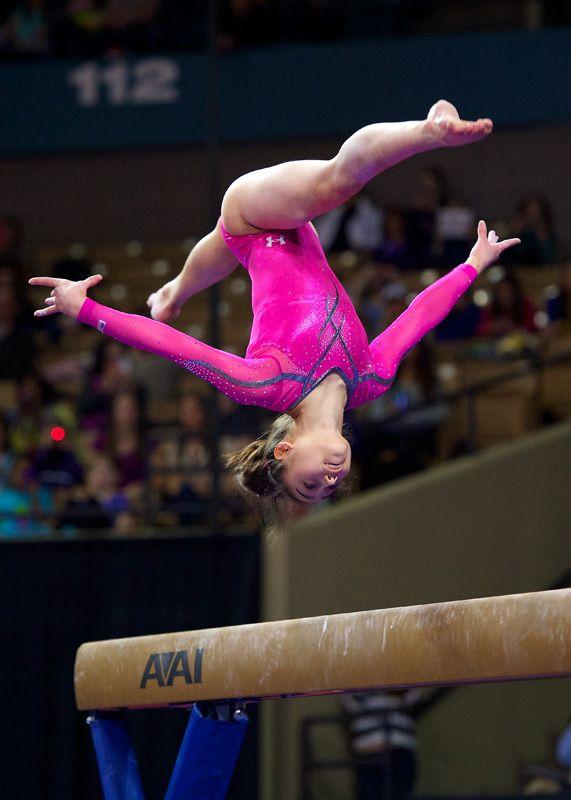 Katelyn Ohashi on balance beam.