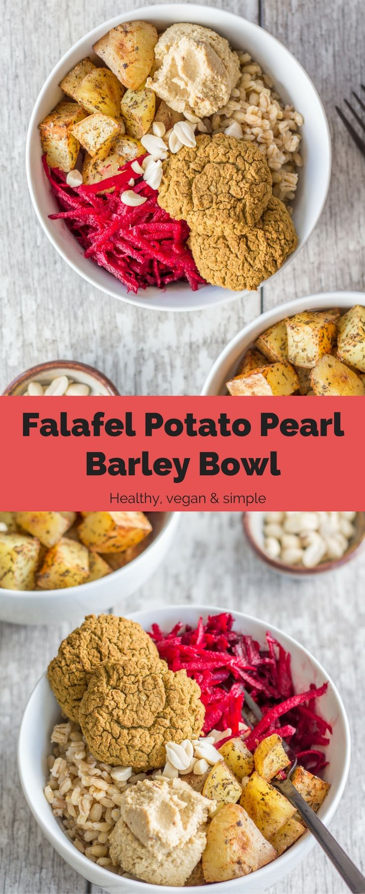 This Falafel Potato Pearl Barley Bowl is simple, healthy, perfect for meal prepping, and filling. A delicious, vegan dinner. #vegan #dinner #recipes #healthy