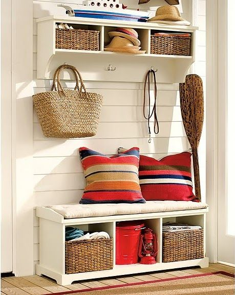 screen porch storage idea..instead of bench have a enclosed storage bench for life jackets, etc...