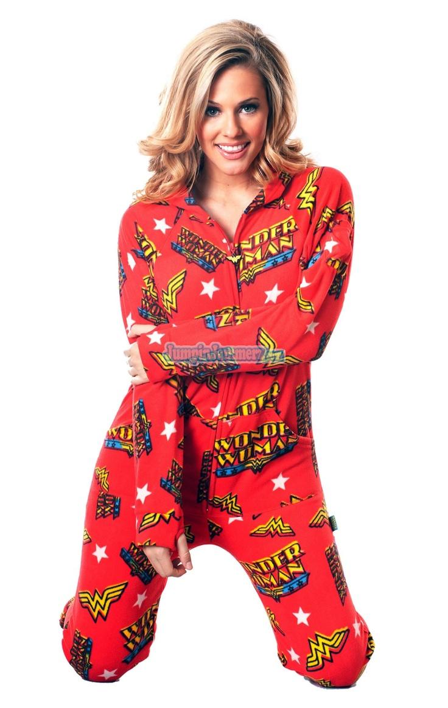 WONDER WOMAN - Warner Bros. - Pajamas Footie PJs Onesies One Piece Adult Pajamas - JumpinJammerz.com