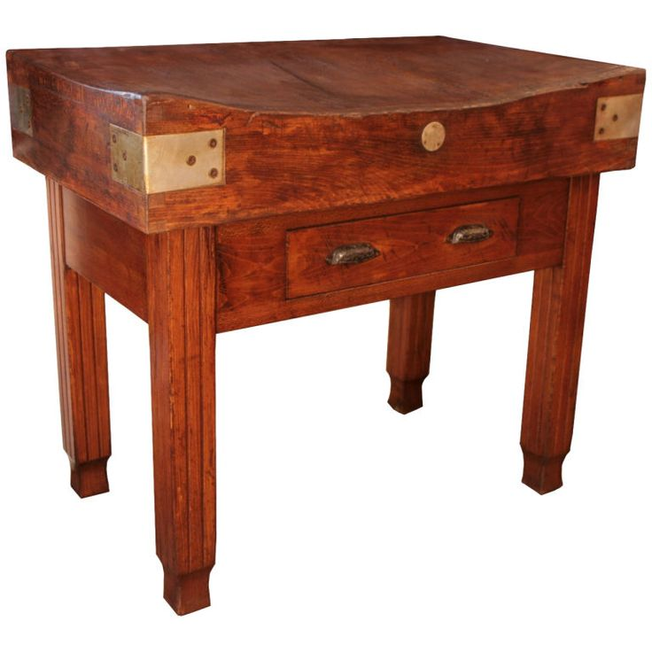 french antique solid oak block table