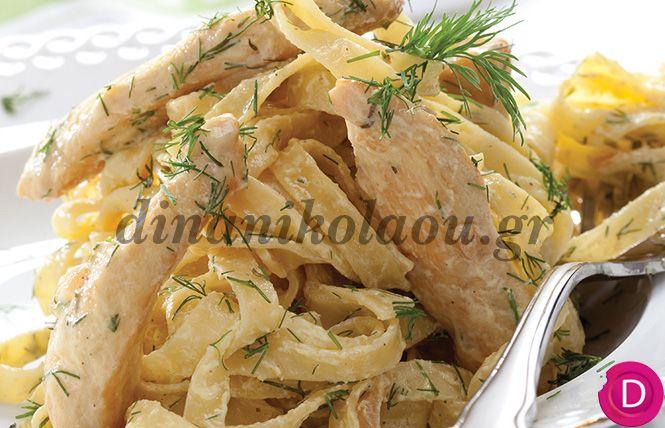 Κοτόπουλο με λινγκουίνι και σάλτσα μουστάρδας | Dina Nikolaou