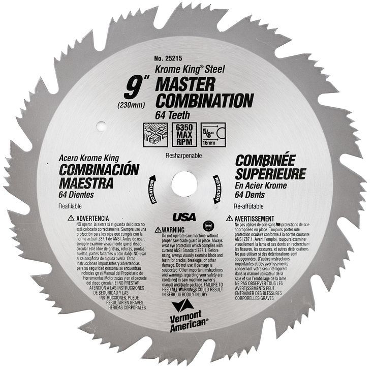 """Vermont American 25215 9"""" 64T Krome King Master Combination Circular Saw Blade"""
