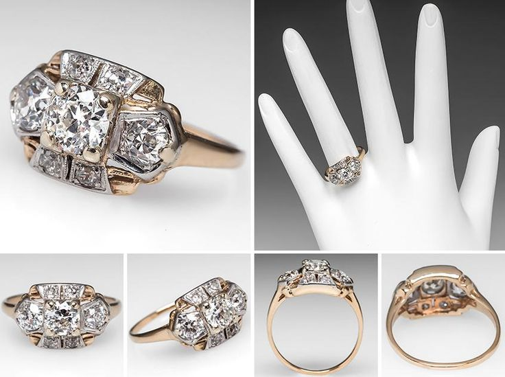 Victorian Engagement Ring W Old Euro Diamonds Platinum Topped 14k Gold 1900 S