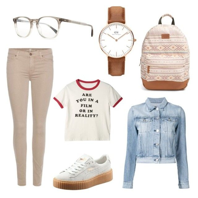 Untitled #10 by elenisgourou on Polyvore featuring polyvore fashion style 3x1 7 For All Mankind Rip Curl Daniel Wellington Oliver Peoples clothing