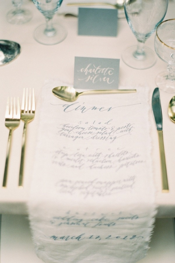 Parisian Wedding from Rylee Hitchner Photography   Lovely cloth menus.   Creative Direction, Design + Styling: Jessica Sloane Event Styling & Design / Floral Design: Amy Osaba / Wedding Stationery + Decals: Neither Snow /