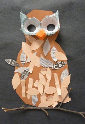 Mixed Media Owl art project on blog: Art.Paper.Scissors.Glue! Lots of Art lesson ideas :) @marlasue831