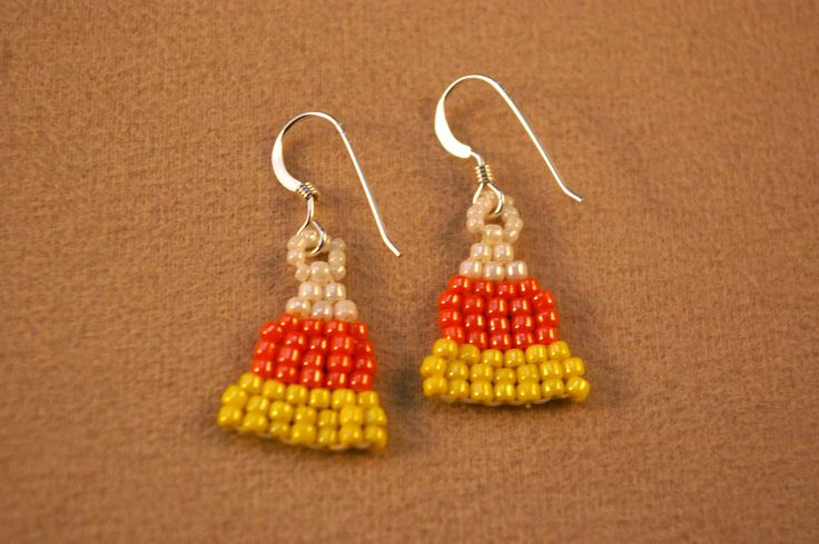 Easy Brick Stitch Candy Corn Earrings | Candy corn ...