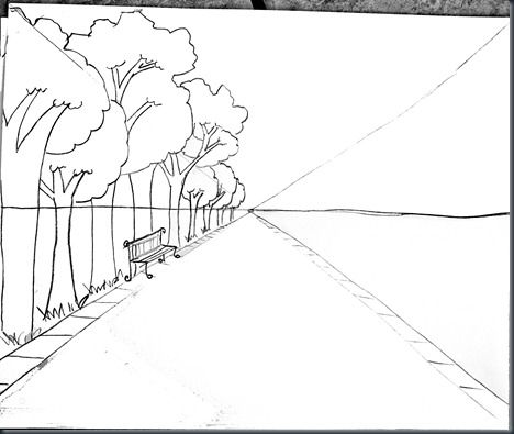 Drawing Steps for One Point Perspective with photo samples and student sample