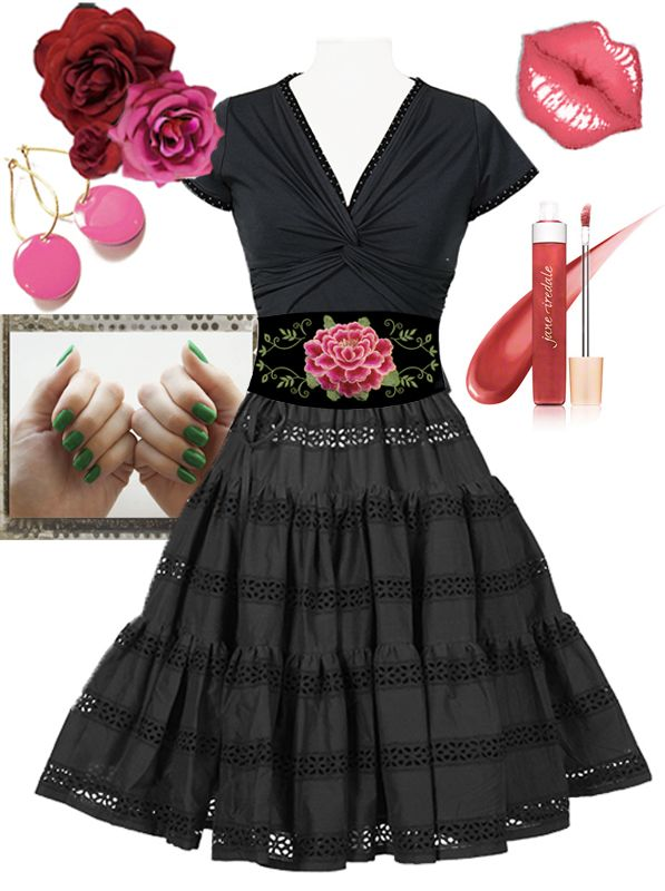 """The """"Strut"""" skirt styled with a Rose-belt and a """"Twist"""" T-shirt. Accessories: Our DOT earings, E&L roses and we really like this Jane iredale lipgloss."""