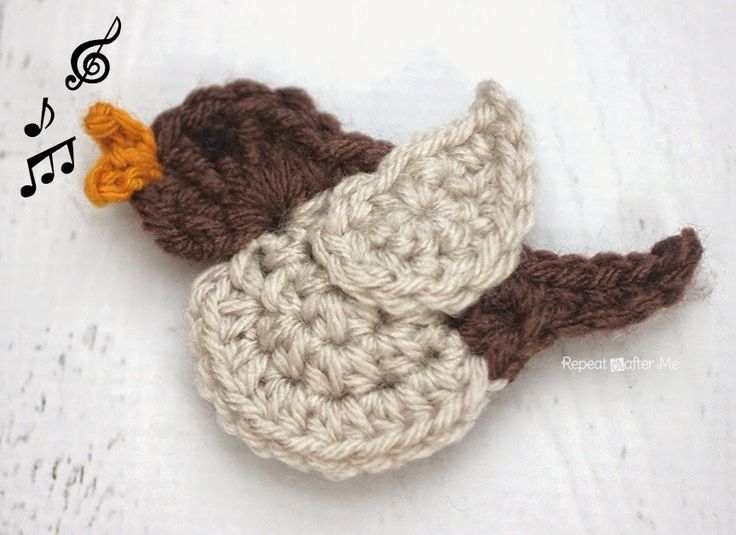 N is for Nightingale: Crochet Nightingale Bird Applique