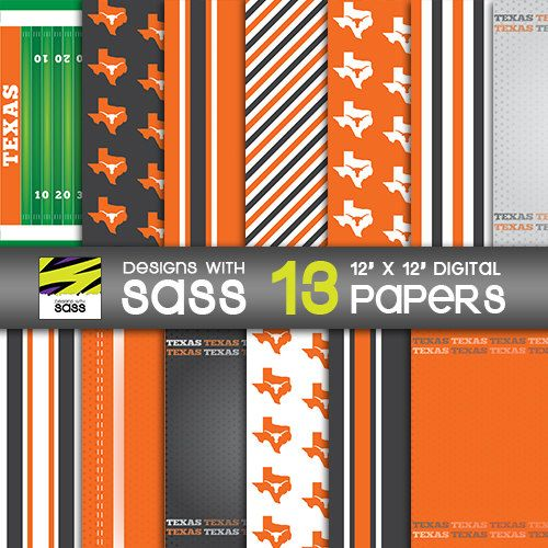 Digital Paper, Texas, Longhorns, Papercraft, Collegiate, Football, Jamberry, Sports, Orange, White, Pattern, Commercial Use