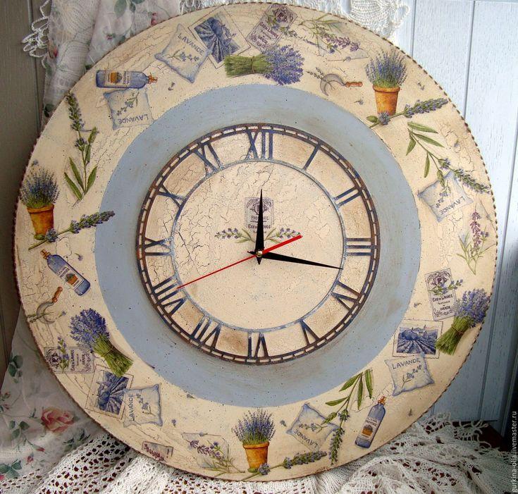 """Купить Очень большие часы """" Лавандовый прованс"""" 60 см - прованс, большие часы"""