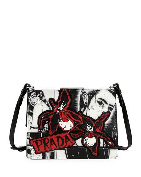 66dc783ef7832e Prada Cartoon-Print Frame Shoulder Bag | Spring/Summer 2018 | Prada ...