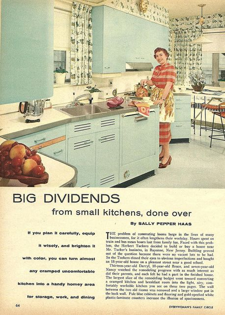 "Fabulous vintage kitchen featured in ""Big Dividends"", Oct. 1958 article from Everywoman's Family Circle"