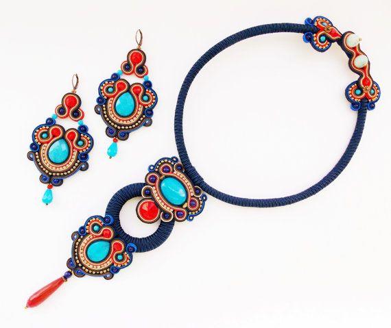 Dark blue soutache set. Soutache necklace and by Soutachebypanka