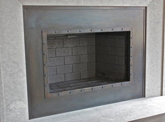 Steel Fireplace Surround | Hand made custom fireplace. Ironhaus.com