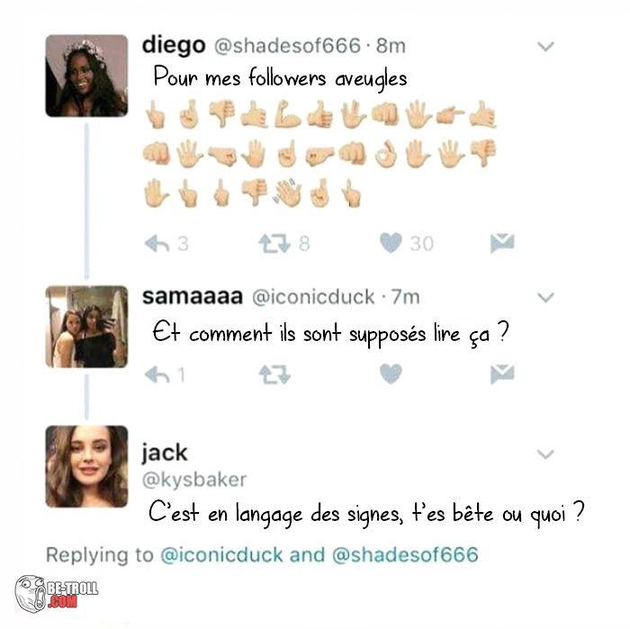 Du langage des signes pour aveugles, wow Sérieusement... -_-