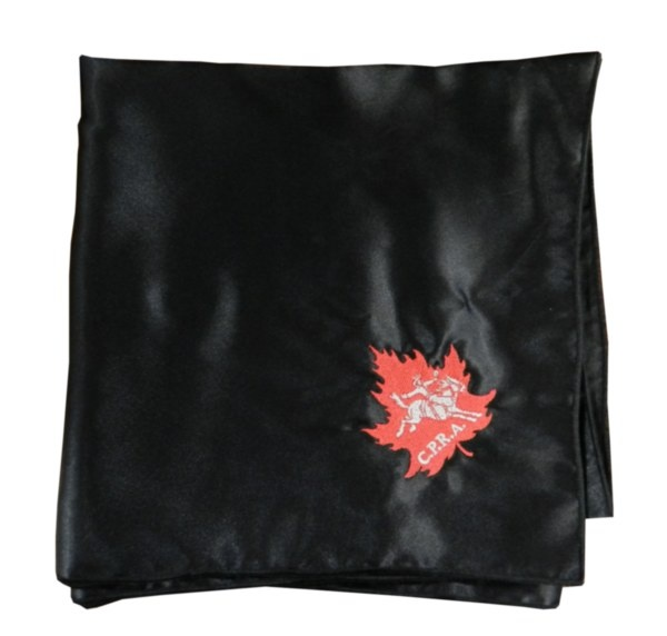 CPRA Satin Wild Rag - Hand-made wild rag, black with red and cream CPRA logo embroidery. 36x36. Available in black, charcoal, silver and ivory!