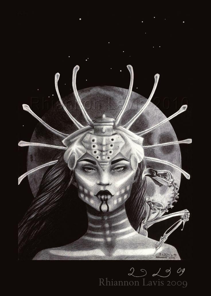 The Bone Goddess by Rhi la Vis (Rhiannon Lavis)  This drawing was done entirely in black ballpoint writing pens.