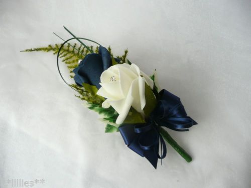 Wedding Buttonhole Grooms Ivory & Navy Blue Wedding Flowers
