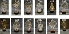 Creative 3D Optical Night Light with Over 250 Designs #wooden LED night light