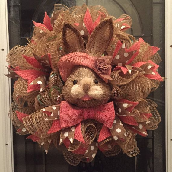 Easter Wreath Poly Jute Burlap Deco Mesh Wreath by RoesWreaths