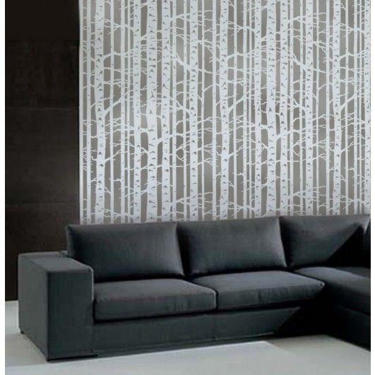 Allover stencil Birch Forest by Cutting Edge Stencils/ Reusable wall stencils