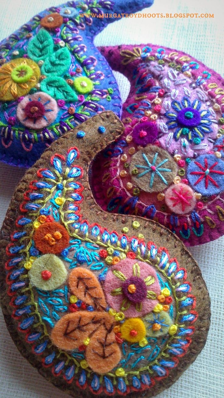 Hand embroidered, wool felt Paisley brooches by Murgatroyd & Bean