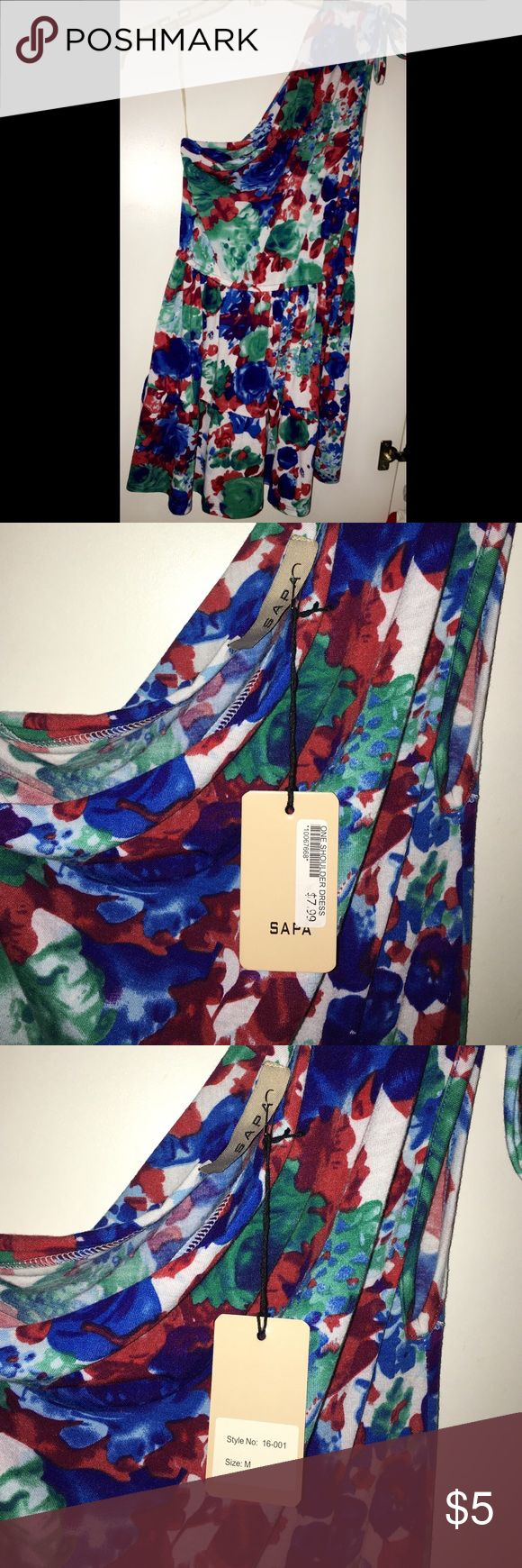 Multi Color One Shoulder Dress - New + tag Brand New (with tag), NEVER worn. One shoulder multi color dress. Girls/junior size medium. Great spring/summer dress. Sold as is. Dresses Casual