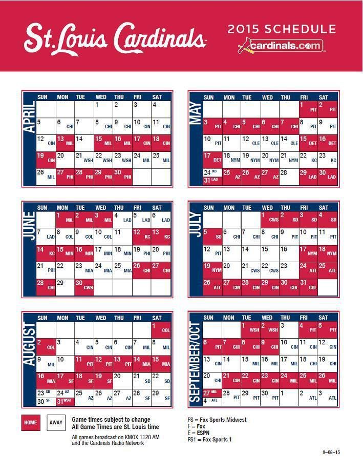 The 2015 St. Louis Cardinals schedule