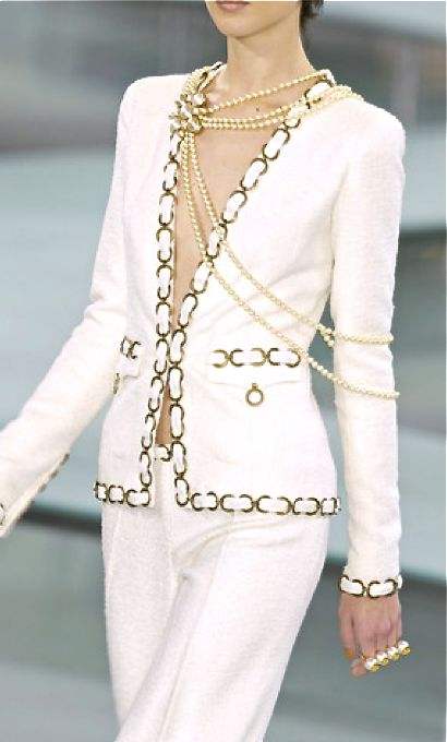 Chanel Maybe a little something, something underneath...this I runway, but I love the carefree jewelry placement, S.G.