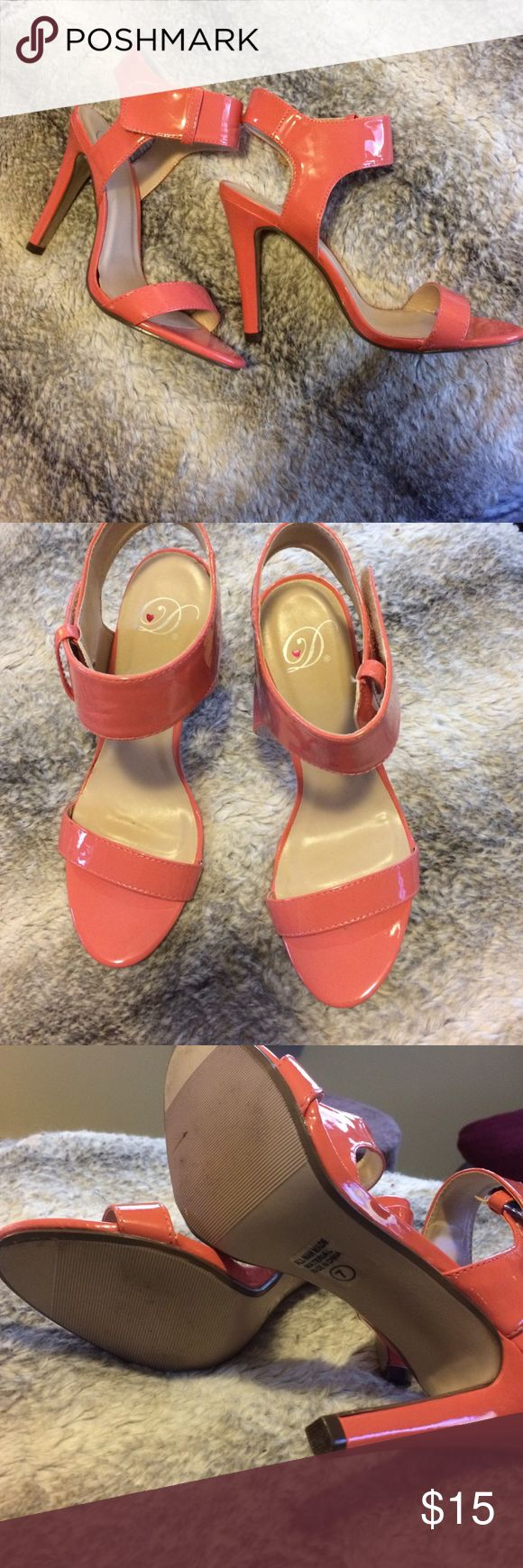 Strapped Coral Pink Heeled Sandals Heels Dollhouse Like new coral pink strappy heeled sandals. Size 7. Excellent condition. Dollhouse Shoes Heels