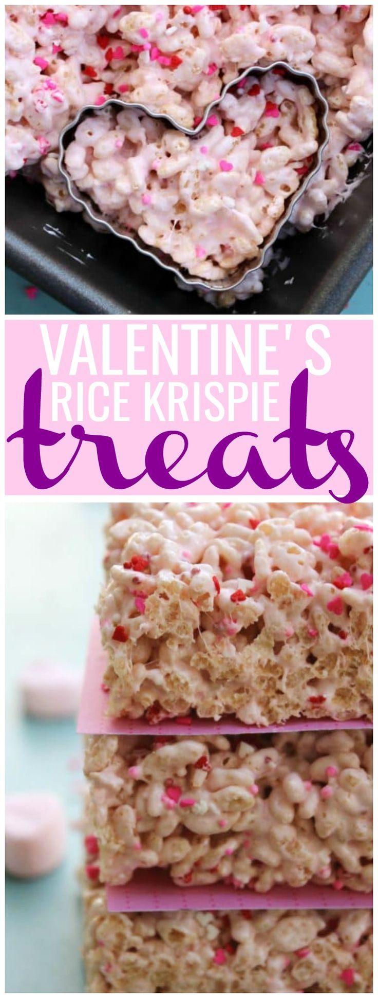 Show someone how much you love with these ooey, chewy & delicious VALENTINE'S RICE KRISPIE TREATS. Easy, delicious and irresistible. #valentinesday #treat #ricekrispies
