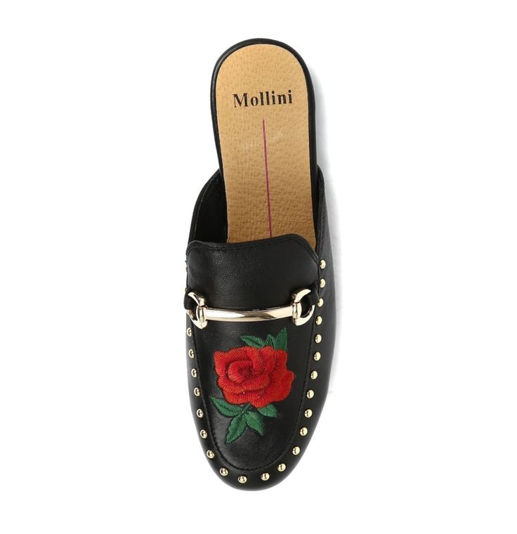 Mollini - Grover Black Red Embroidery Leather