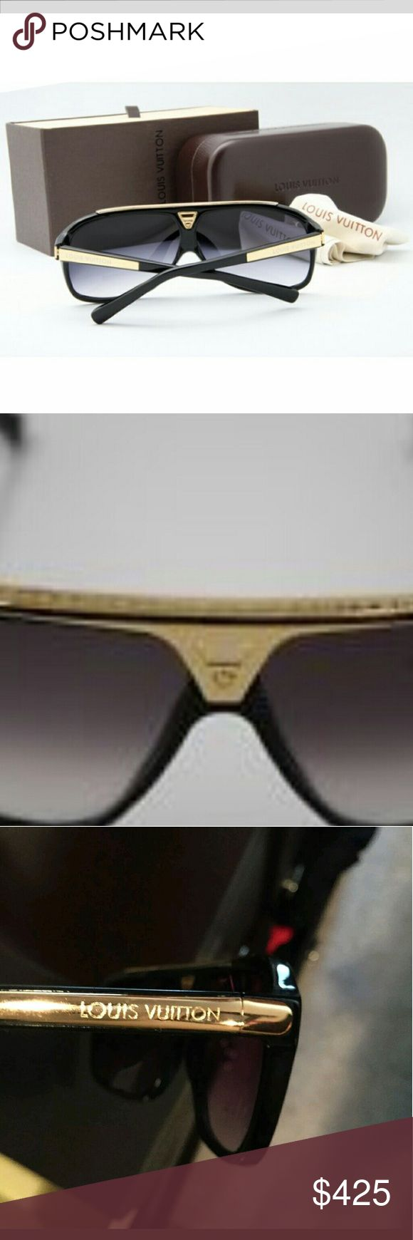Louis Vuitton Evidence Sunglasses Authentic Louis Vuitton black ad gold Evidence sunglasses. Barely used, comes with case and box. Louis Vuitton Accessories Sunglasses