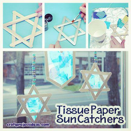 Tissue Paper Sun Catchers for Hanukkah!