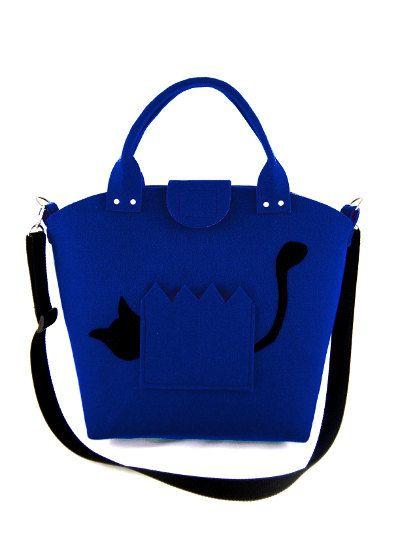 Cat handbag Felt purse Bag for women Blue bag Felt by Torebeczkowo