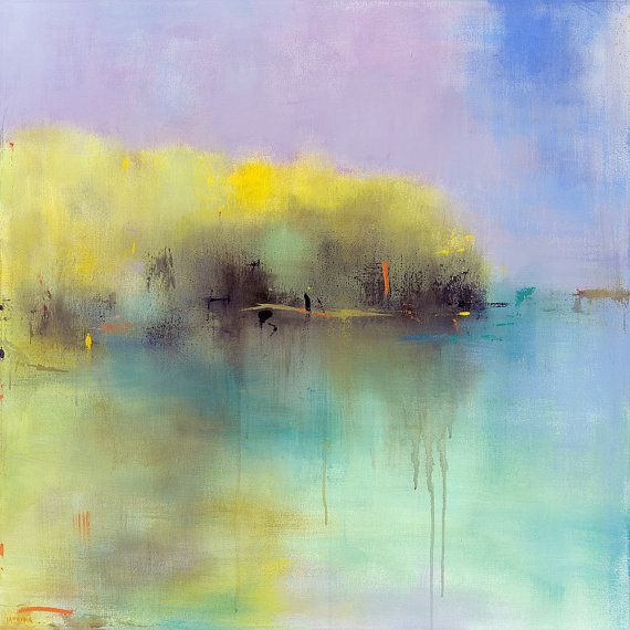 Abstract Landscape Painting Large Painting 36x36 original Fine Art Art Collector West Elm Emerging Artist Collected Artist