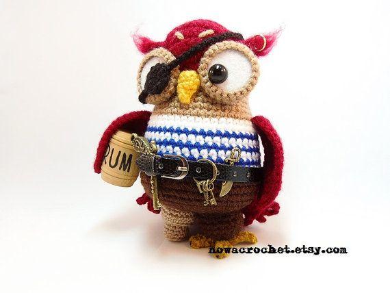 Pirate owl - amigurumi PDF crochet pattern