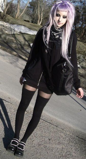 Black top shorts thigh stockings and shoes dark schoolgirl style