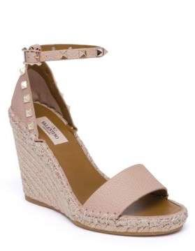 Valentino Garavani Rockstud Double Leather Espadrille Wedge Sandals
