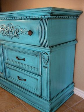 Rustic Turquoise Dresser Before & After.